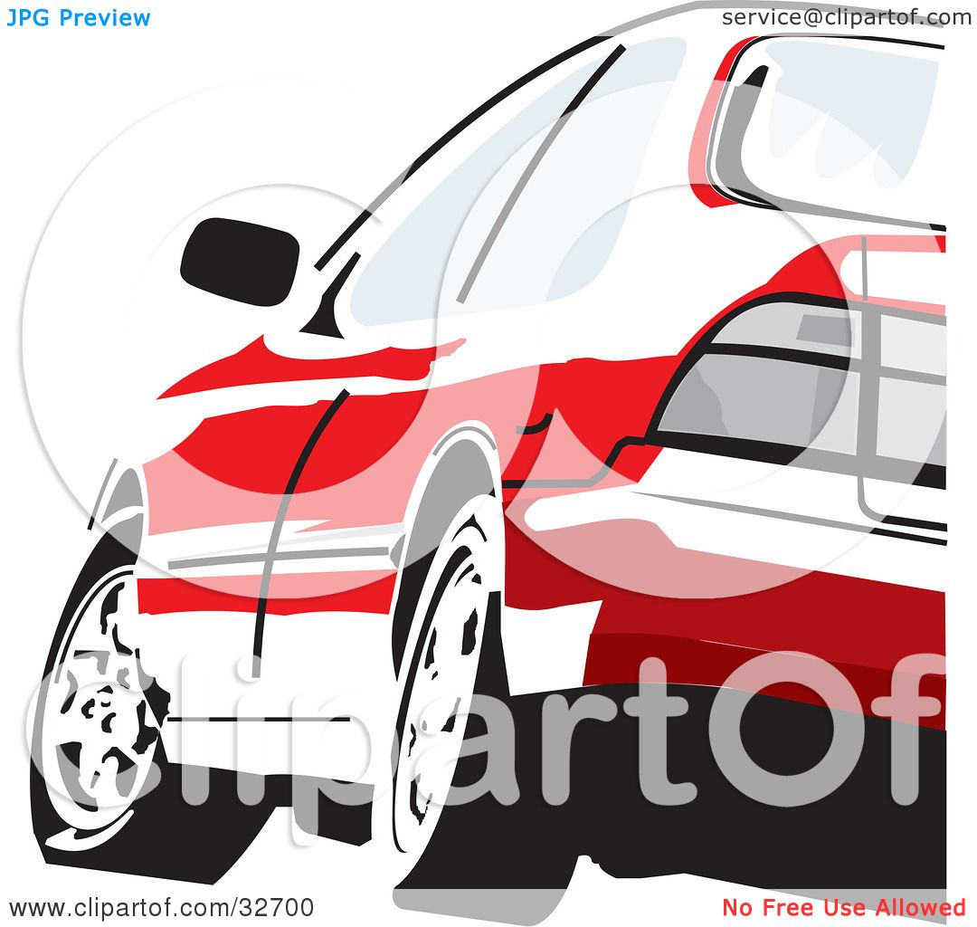 Clipart Illustration of a Red Honda Accord Driving, As Seen From.