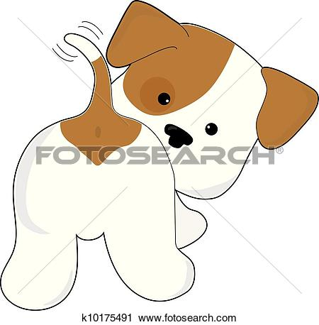 Clipart of Cute Puppy Rear View k10175491.