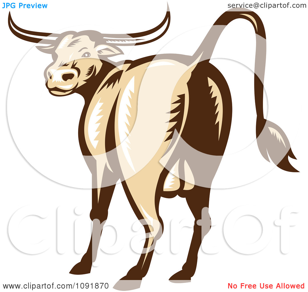 Clipart Retro Texas Longhorn Bull From The Rear.