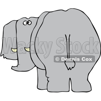 Free Vector Clip Art Illustration of a Rear View Of An Elephant.