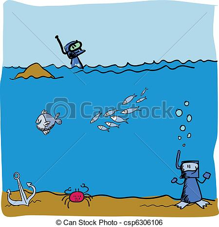Clip Art Vector of under the sea vector beach csp6306106.