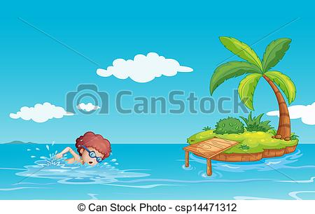 Swimming in the sea clipart.