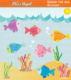 Under the Sea Clipart. Turtle, Clown fish, tropical fish, corals.