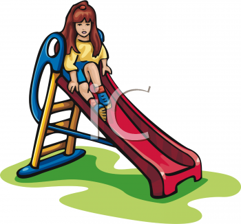 Girl Water Slide Clipart.