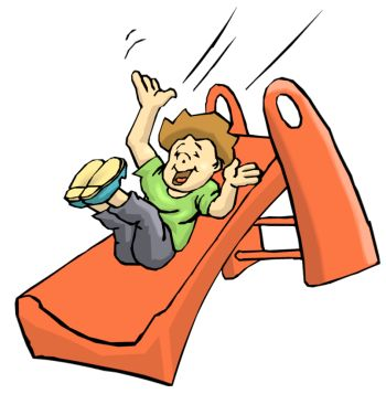 Child on Slide Clip Art.