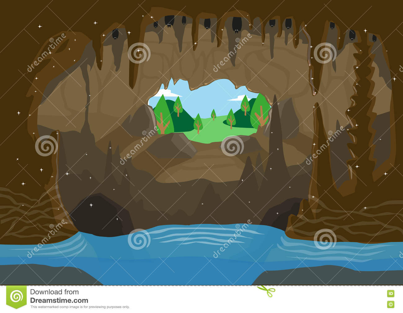 An Illustration Of A Cave With Underground River And Bats Hanging.