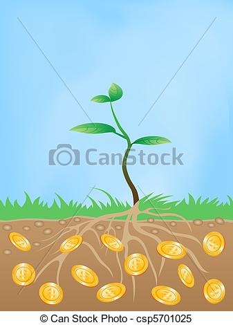 Clipart Vector of money tree.
