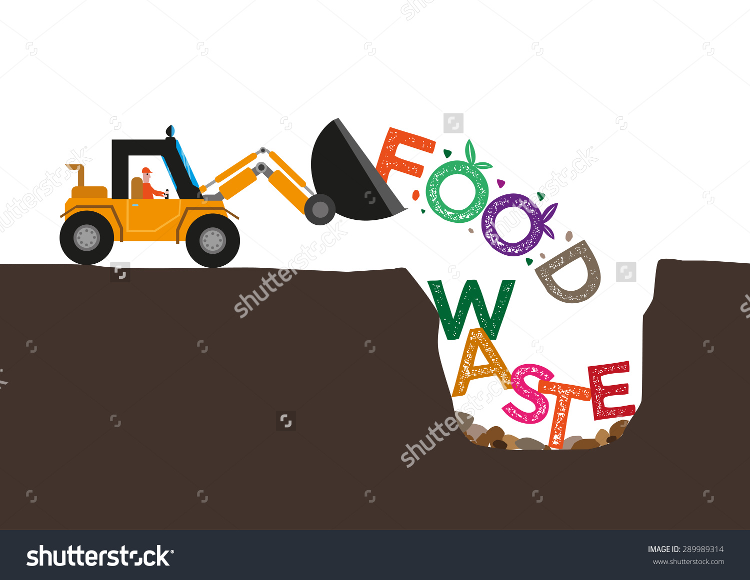 Food Waste Concept Bulldozer Buries Uneaten Stock Vector 289989314.
