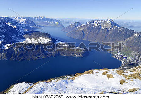 "Stock Photograph of ""View from the Fronalpstock on Lake Lucerne."