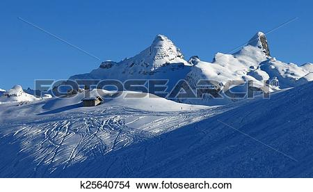 Stock Photo of Winter scene in the Stoos ski area k25640754.