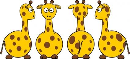 Tobias Cartoon Giraffe Front Back And Side Views clip art.