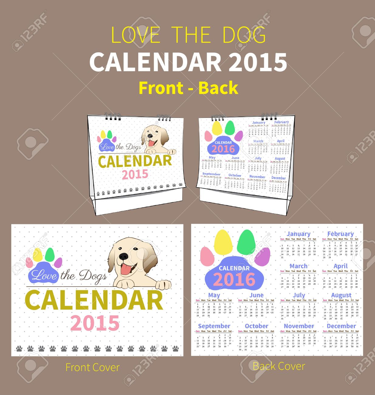 Calendar 2015 To 2016 Front And Back Cover On Dot And White.