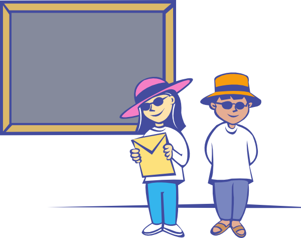 Kids In Front Of A Blackboard clip art Free Vector / 4Vector.