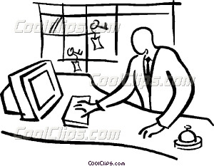 hotel front desk Vector Clip art.
