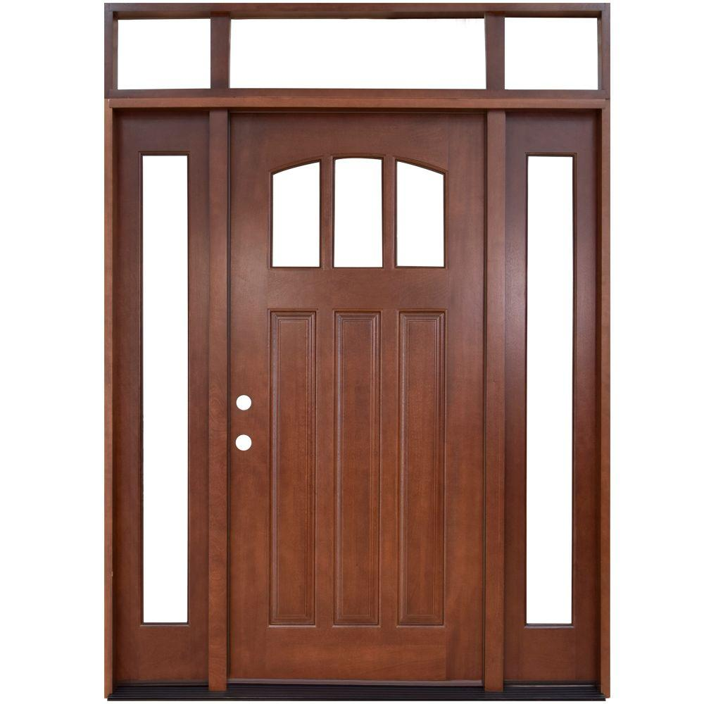 Steves & Sons 64 in. x 80 in. Craftsman 3 Lite Arch Stained Mahogany Wood  Prehung Front Door with Sidelites and Transom.
