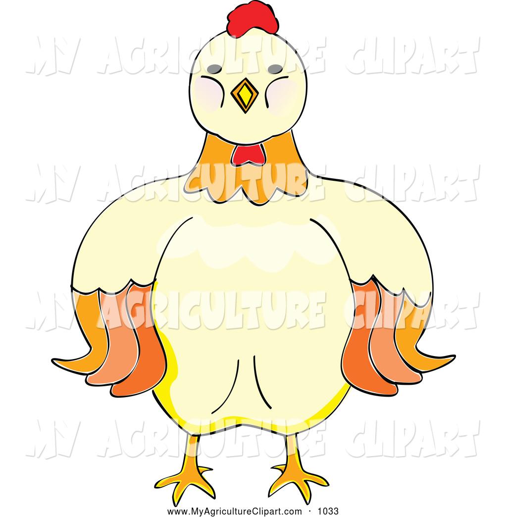 Cute hen front face clipart.