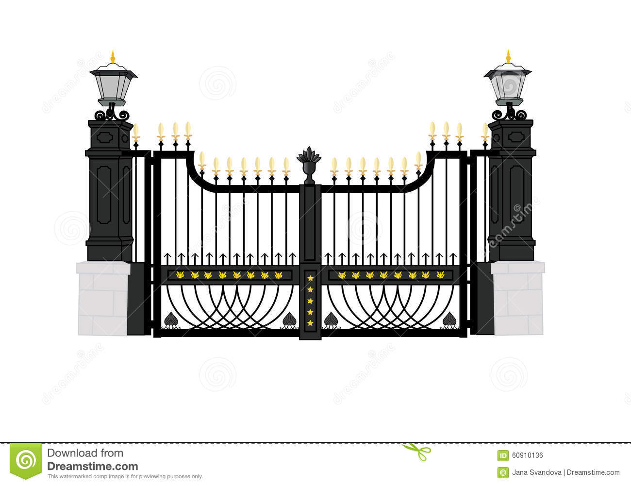 Front Gate White House 2c Usa President Home Stock Illustrations.
