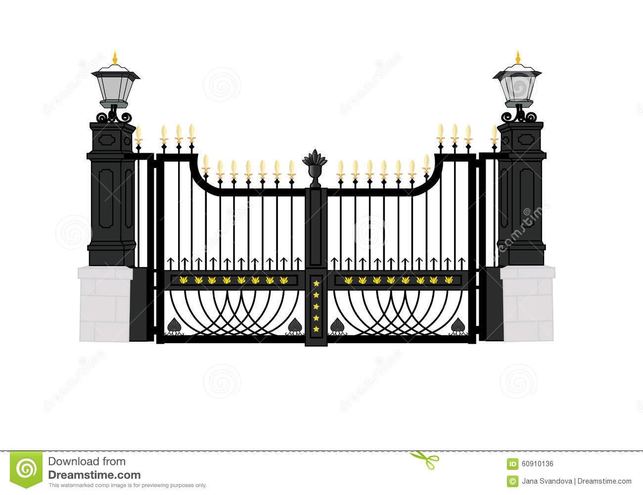 Front Gate White House 2c Usa President Home Stock Illustrations.
