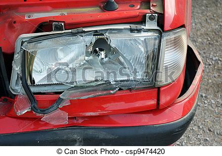 Stock Photography of Red car crash.