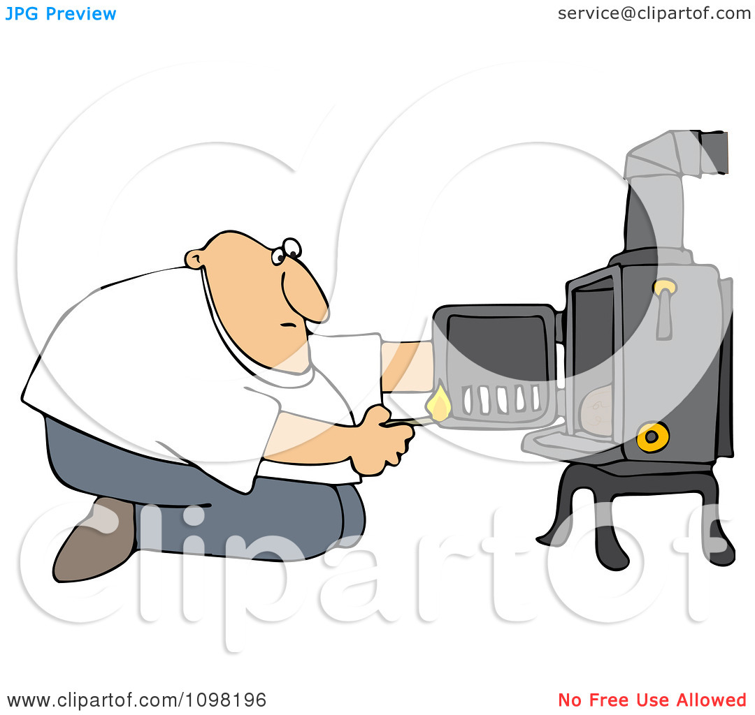 Clipart Man Kneeling In Front Of His Heat Stove To Light A Fire.