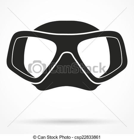 Clip Art Vector of Silhouette symbol of Underwater diving scuba.