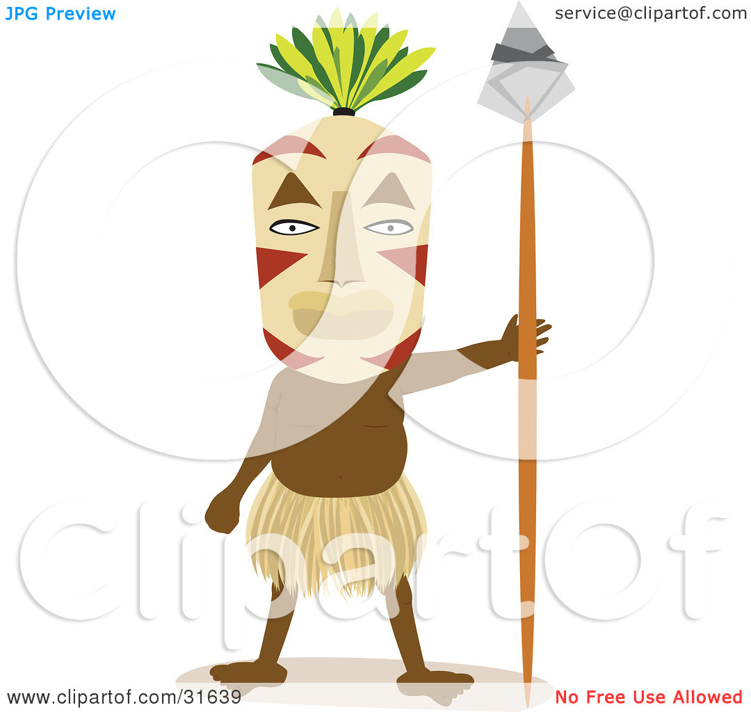 Clipart Illustration of a Tribal Man In A Grass Skirt And Mask.