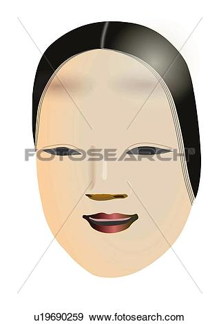 Stock Illustration of Close up of Noh mask, front view, Japan.
