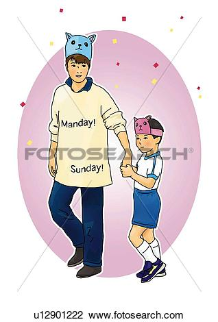 Clip Art of Man and boy holding hands and putting mask on forehead.