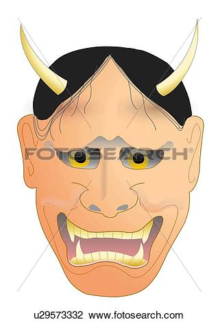 Clip Art of Close up of Noh mask, front view, Japan u29573332.