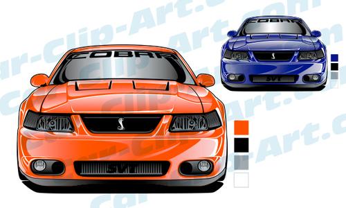 2004 Mustang SVT Cobra Front View Vector Art — Car.