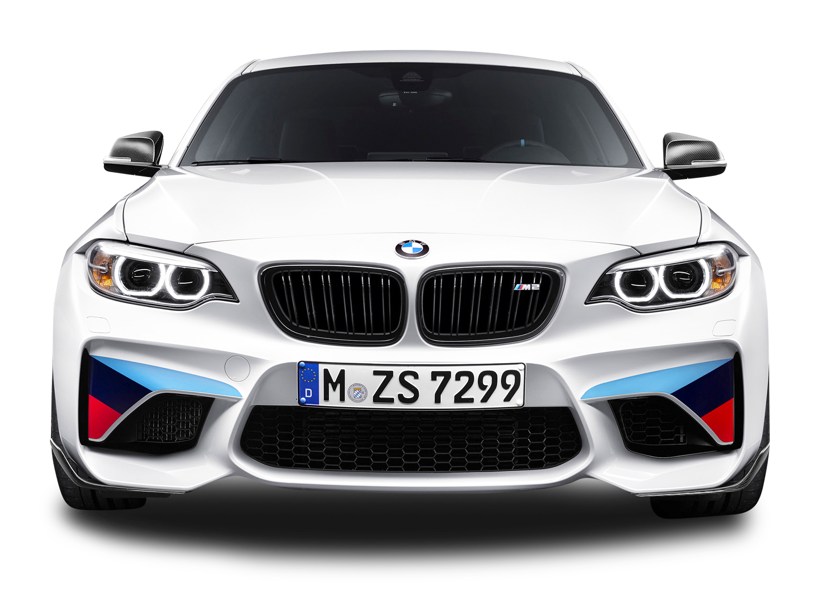 White BMW M2 Coupe Front View Car PNG Image.