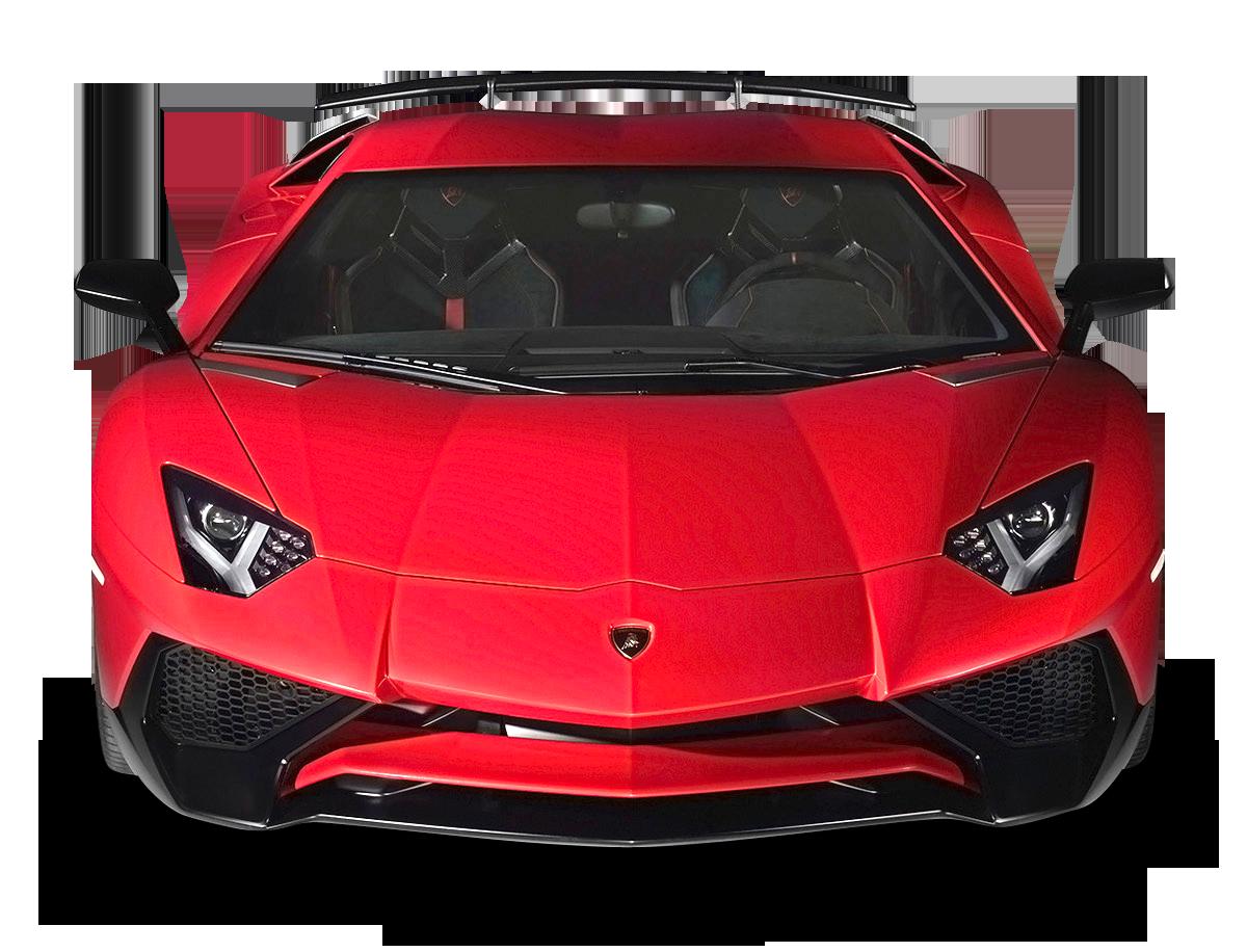 Lamborghini Aventador Red Car Front PNG Image.