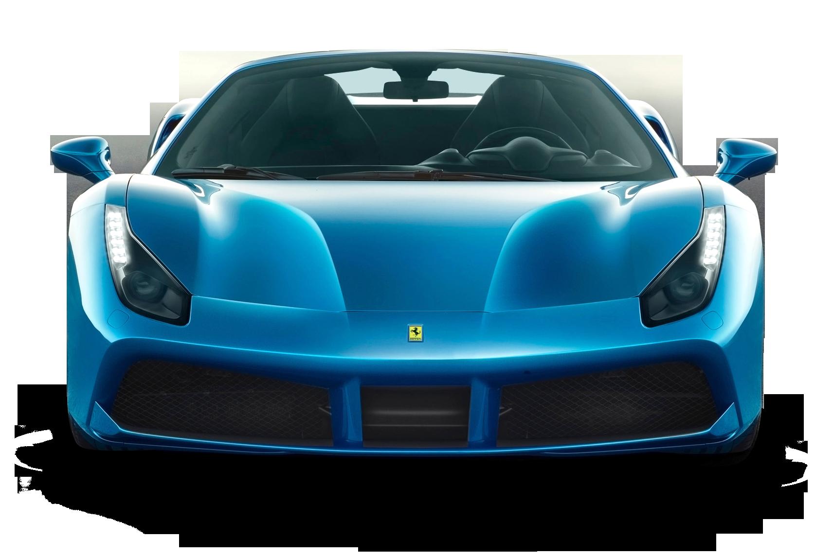 Blue Ferrari 488 Spider Car Front PNG Image.