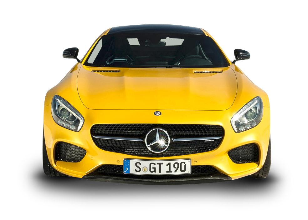 Yellow Mercedes AMG GT Solarbeam Car Front PNG Image.