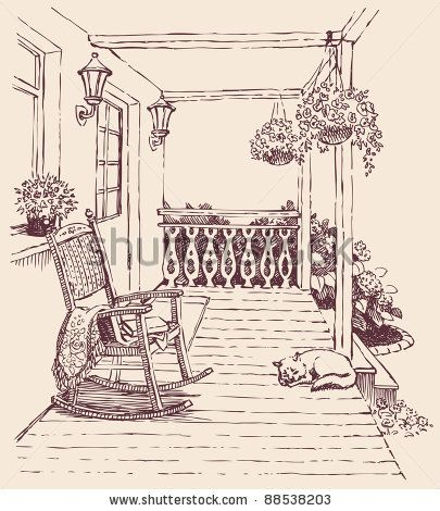 front porch and rocking chair.