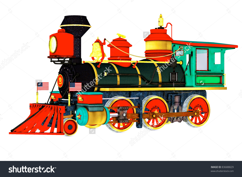 Old Time Steam Engine Train Side Stock Illustration 83688829.