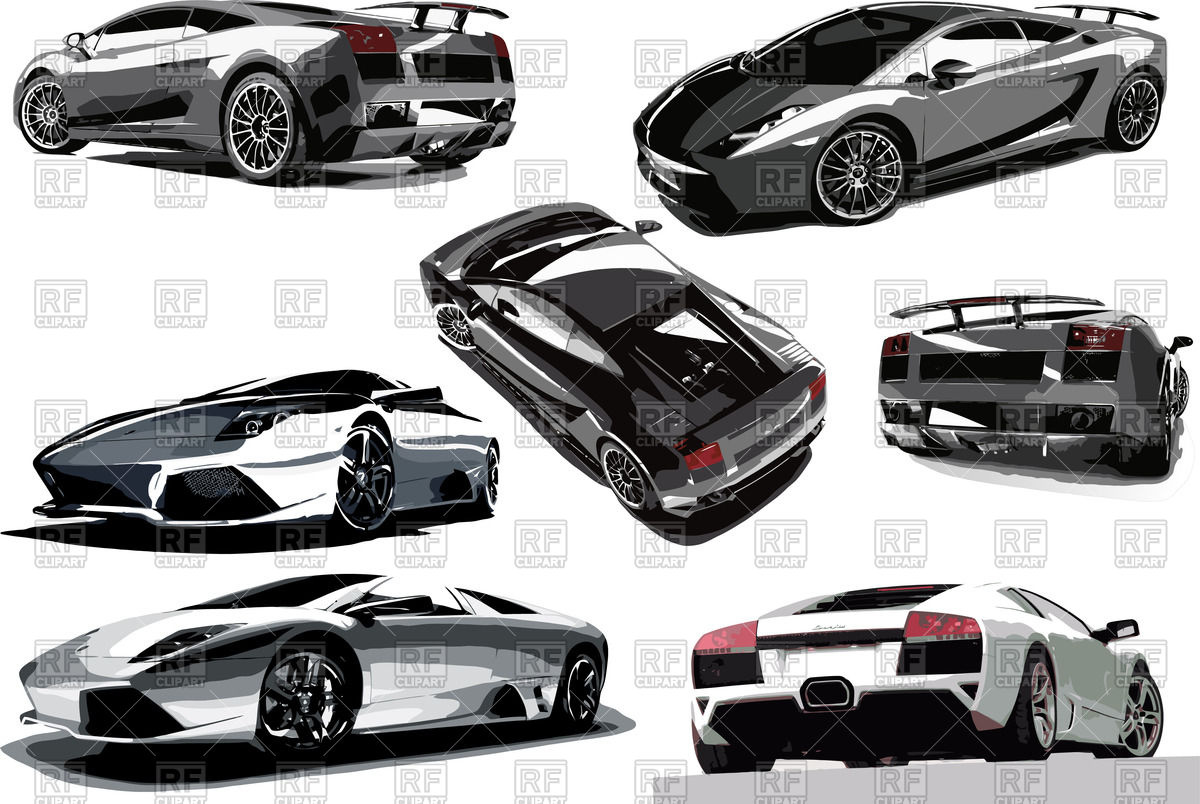 Gray sport car (front, rear, side and top view) Vector Image.