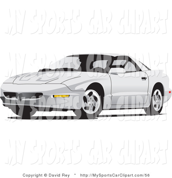 Clip Art of a White Pontiac Firebird Car from the Front Side by.