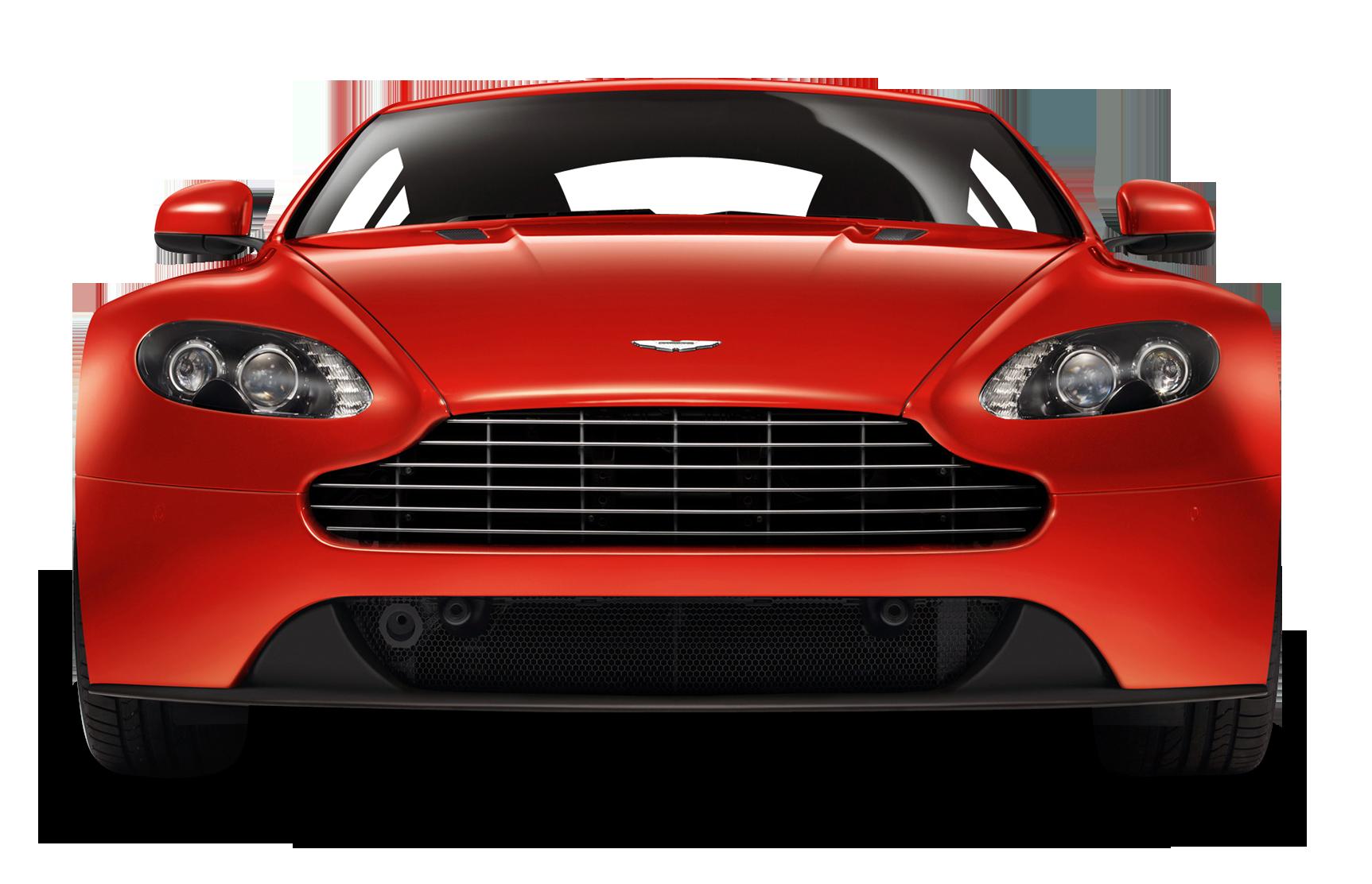 Red Aston Martin V8 Vantage Front View Car PNG Image.