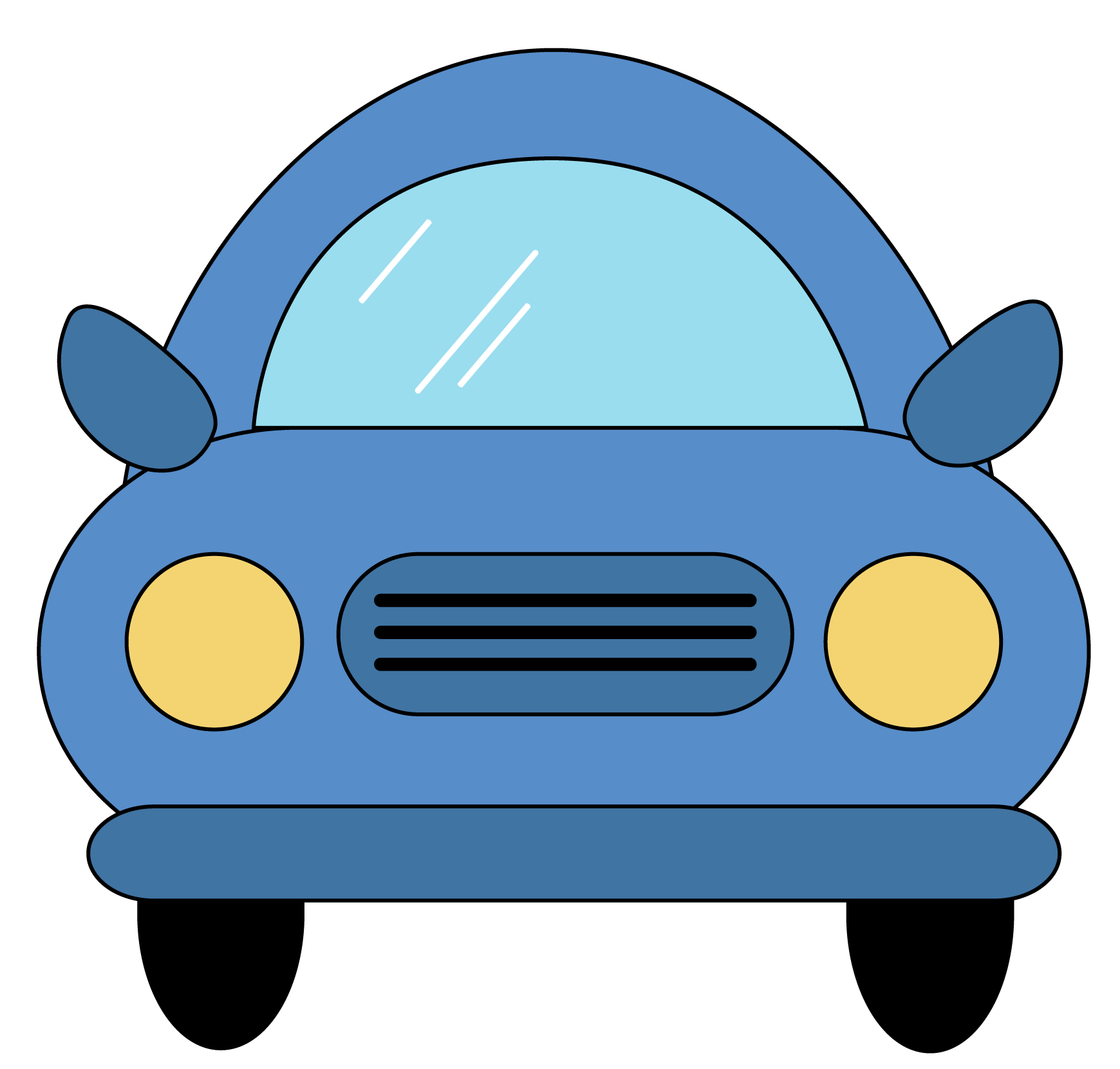 Cartoon car front view PNG Clipart.