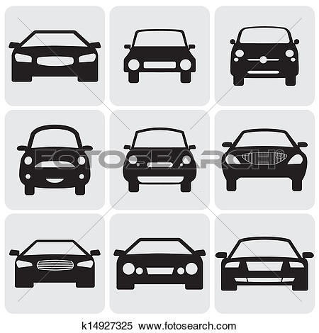 Clipart of compact and luxury passenger car icons(signs) front.