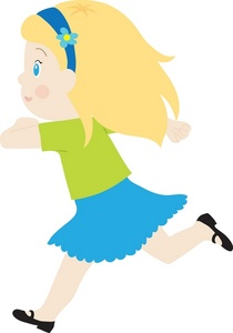 Front View Girl Running Clipart.