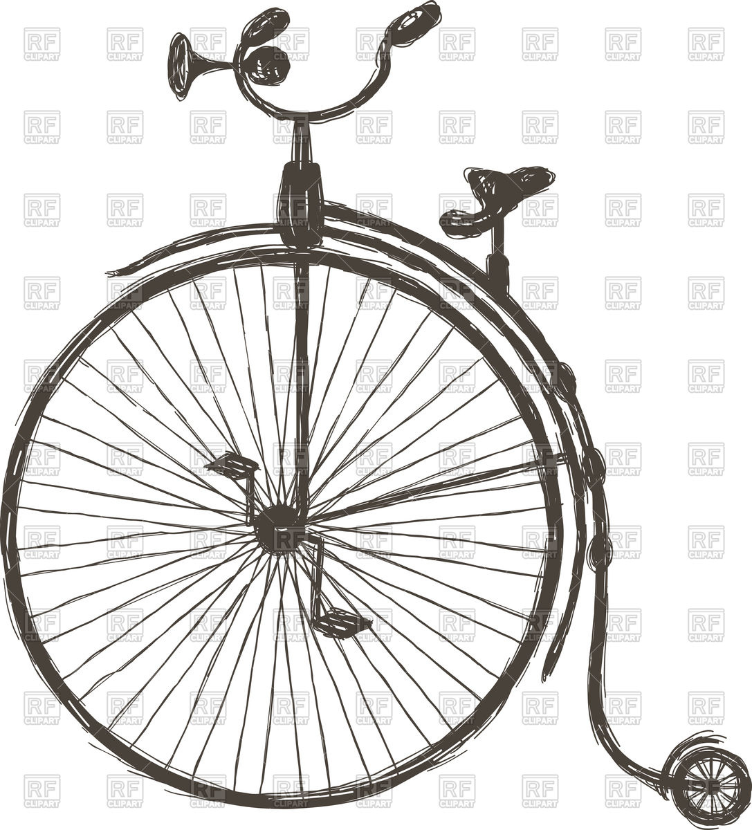 Retro bicycle with large front wheel.