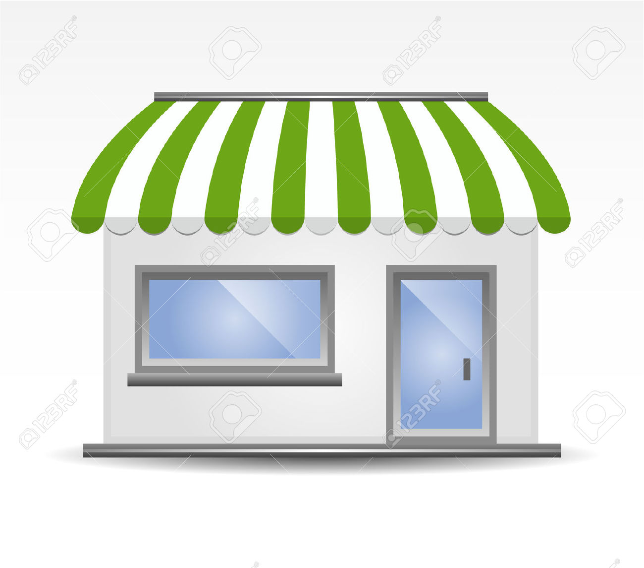 Vector Illustration Of Storefront Awning In Green Royalty Free.