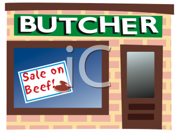 Royalty Free Clip Art Image: Front of a Butcher Shop with a Beef.
