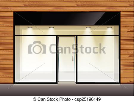 Clip Art Vector of Vector Shop Boutique Store Front with Big.