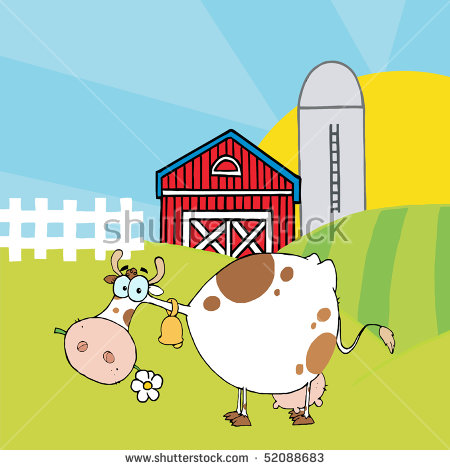Farm Red Barn Tractor Pig Cow Stock Vector 100089866.