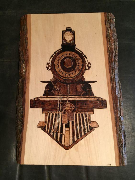 Train Front wood burnt art.