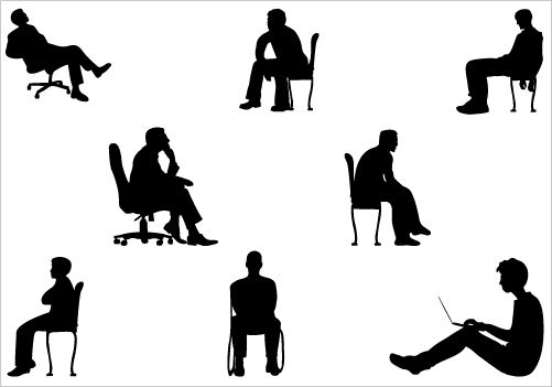 Sitting man in woods clipart.