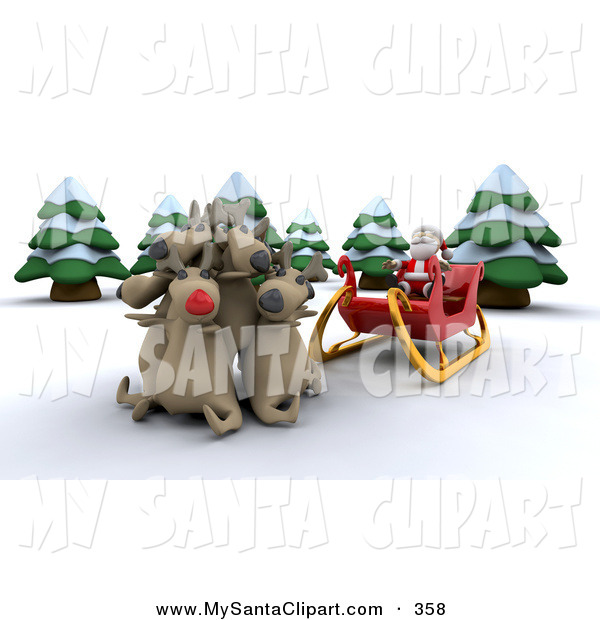 Christmas Clip Art of Rudolph and Group of Santa's Other Reindeer.